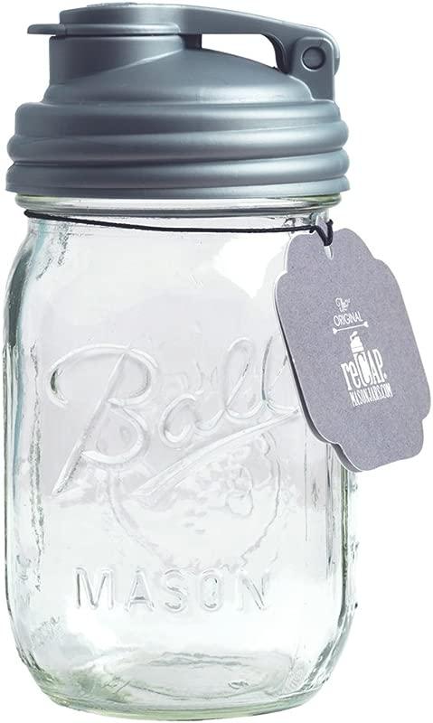 ReCAP PJ16 R SLVR1 Mason Pour Lid Pint Jar Pint Regular Mouth Clear Silver