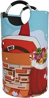 N\A Panier à Linge Rond, père Noël collé Panier à Linge Seau Pliant Sac à vêtements bacs de Rangement pour l'organisation ...