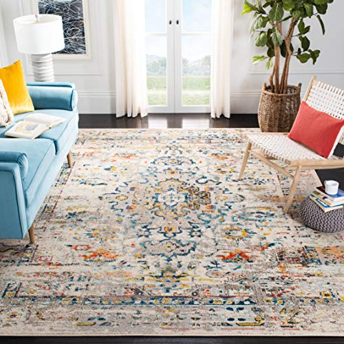 Safavieh Madison Collection MAD474B Boho Distressed Medallion Non-Shedding Living Room Bedroom Dining Home Office Area Rug, 5'3' x 7'6', Cream / Blue