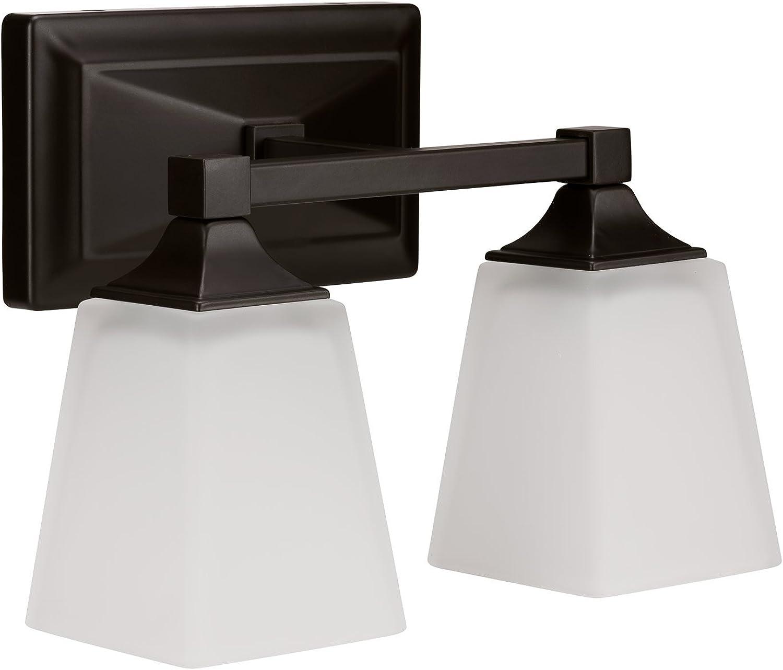 LB74112 LED 2-Light Bath Vanity Light, Oil Rubbed Bronze, 15-Watt (120W Equiv.) 3000K Warm White, 1050 Lumens, 12 W, LED Wall Sconce Fixture, ETL and Energy Star Listed