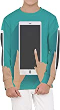 Hand Holding Smartphone with Blank Screen Illustration Digital Tablet,Cozy Crewneck Pullover Sweatershirts for Kids Holding XL