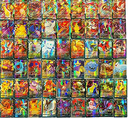 Flyglobal Pokemon Karten GX Sammelkarten, Pokemonkarten 100 Stück Set mit 79V Pokemon-Karten und 21VMAX Pokemon Cards Kinder Pokemon Kartenspiele