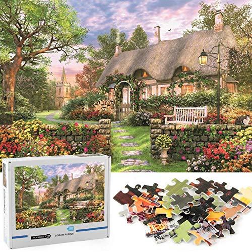 GuDoQi Puzzle 1000 Piezas Adultos Rompecabezas Soleado Cabaña para Infantiles Adolescentes