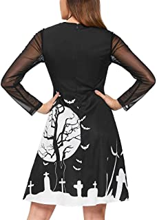 Women Fashion Halloween Bat Festival Print Mesh Patchwork Long Sleeve O Neck Hollow Out Knee Length Mini Dress