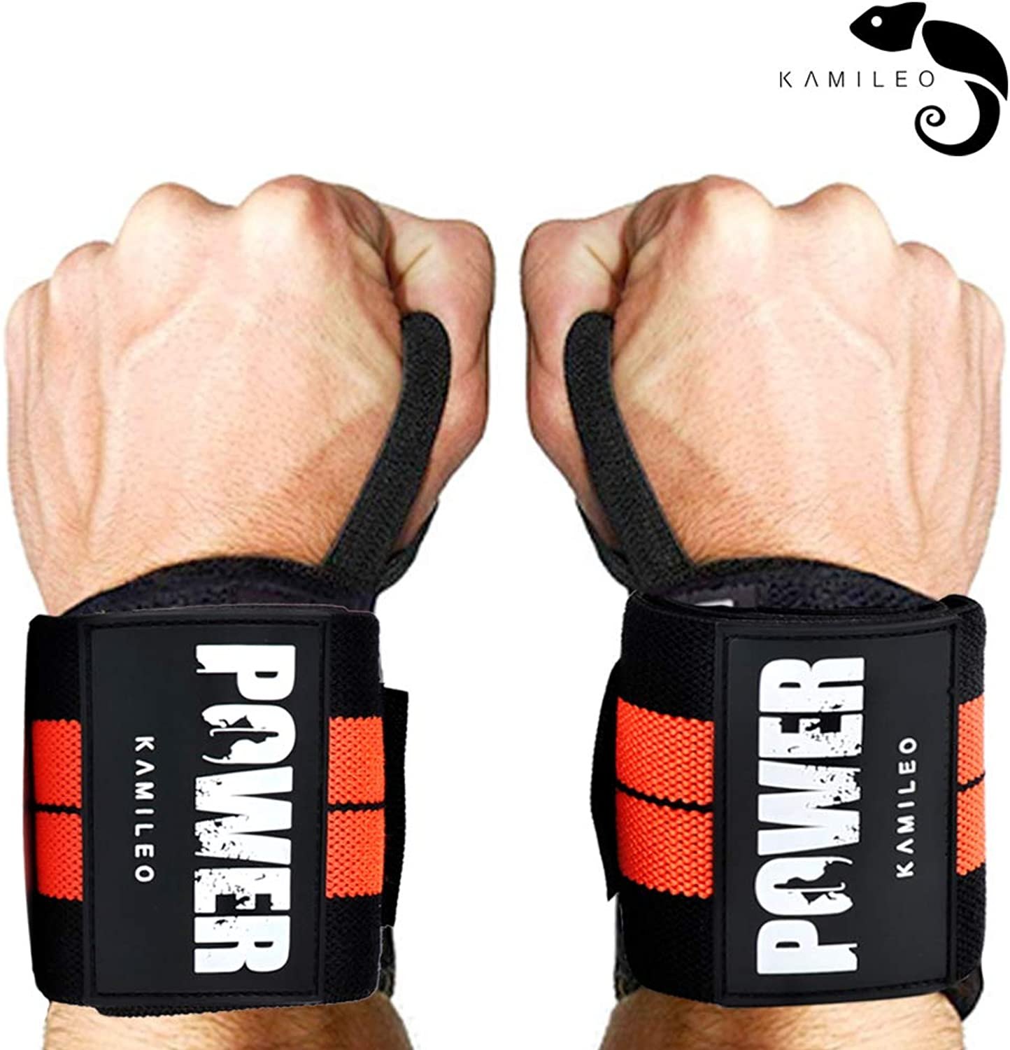 Kamileo Lifting Straps, Wrist Support, Weight Lifting Wraps with Thumb Loops for Men & Women, Weight Lifting, Xfit, Powerlifting, Strength Training