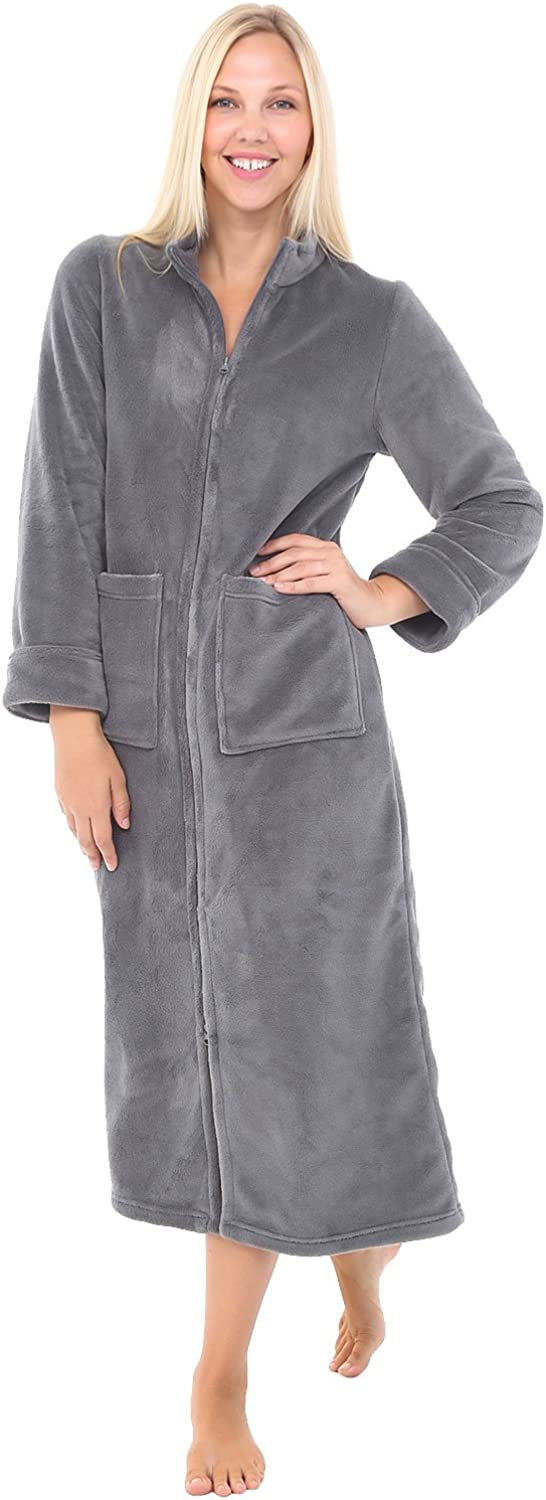 Alexander Del Rossa Womens Slim Fit ZipFront Fleece Robe, Zipper Bathrobe