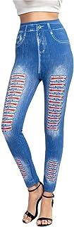 AOGOTO Leggings da donna in denim imitazione stampa a vita alta Hip Raise Casual Skinny Sport Pantaloni
