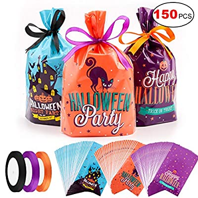 Konsait 150Pcs Halloween Candy Bags Party Bags Kids Trick Or Treat Bags Goody Bags with 3 roll Satin Ribbon for Trick or Treat Bags Halloween Party Gift Favors, Kids Halloween Party Supplies(3 Styles)