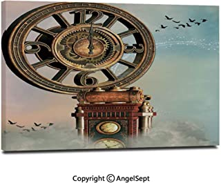 Modern Gallery Wrapped Magical Enchanted Landscape Big Antique Clock Flying Birds Fairytale Pictures on Canvas Wall Art Ready to Hang for Living Room Kitchen Home Decor,12