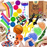 Sensory Fidget Toys Set 32 Pcs., Stress Relief and Anti-Anxiety Tools Bundle for Kids and Adults, Marble and Mesh, Pack of Squeeze Balls, Soybean Squeeze, Flippy Chain, Liquid Motion Timer & More