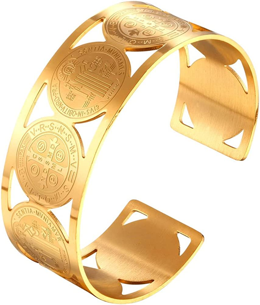 U7 Men Women Stainless Steel 18K Br Now free Jacksonville Mall shipping Wide Chunky Plated Gold Cuff