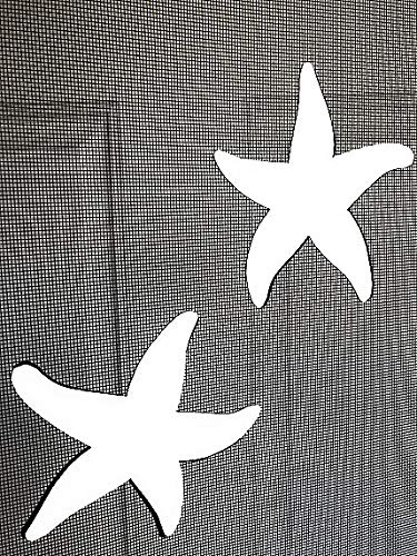 "DCentral Starfish Flexible Screen Magnets: Double-Sided Decor; for Non-Retractable Screens, Multipurpose, Helps to Stop Walking into Screens, Covers Small tears in Screens, Size 5.7"" x 5.5"" ea"