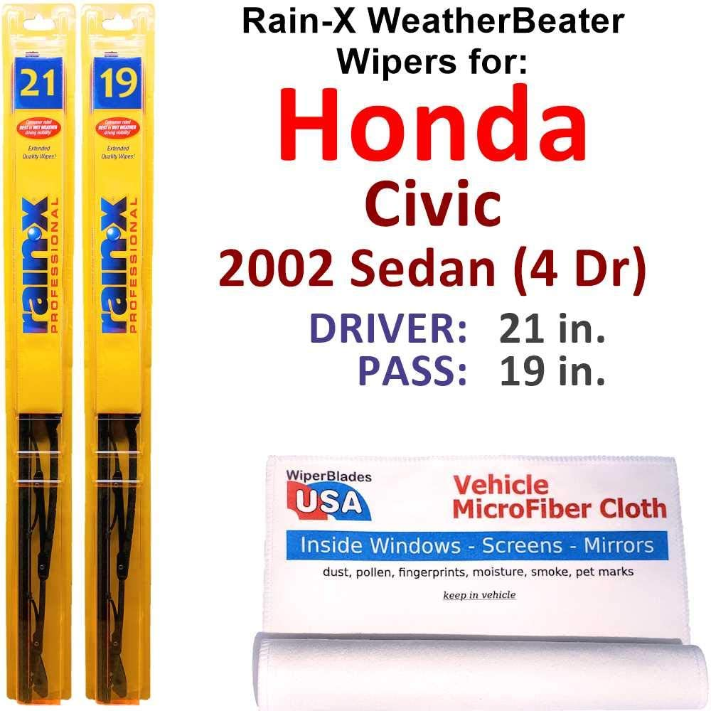 Rain-X Ranking TOP19 WeatherBeater shipfree Wiper Blades for Honda 2002 Sedan 4 Civic