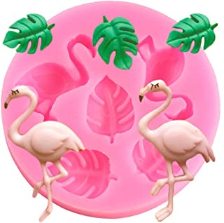 Cute Flamingo Leaf Set Cookie Silicone Mold DIY Topper Decoration Non-stick Premium Cooker Accessories Baking Pan Ice Cream Tray for Homemade Chocolate Dessert Gummy Candy, 5 Cavity