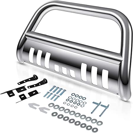 "AUTOSAVER88 Bull Bar Compatible for 99-07 Chevy Silverado 1500/GMC Sierra 1500/00-06 Chevy Suburban 1500/Chevy Tahoe/02-06 Chevy Avalanche 1500 3"" Grill Brush Push Guard - Chrome"