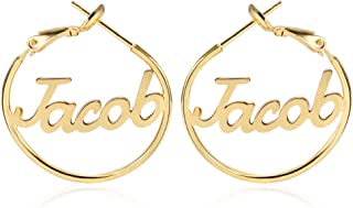 AOCHEE Name Hoop Earrings Name Earrings for Women Personalized Gold Custom Name Earrings with Any Name