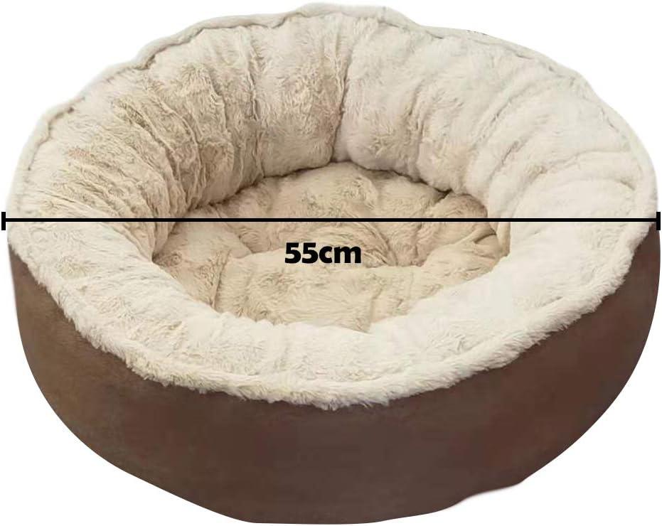 S, Brown BLEVET Letto per Cani//Gatti Lavabile Rotondo Cuscino Morbido e Caldo Divano per Gatti per linverno MZ124