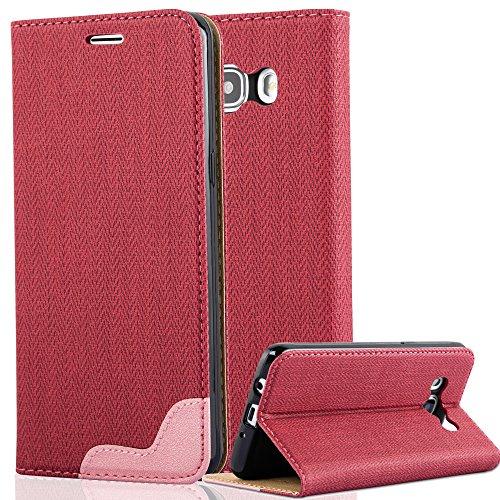Cadorabo Samsung Galaxy J5 2016 (6) Funda de Cuero Sintético Rafia en Pinky Rojo Cubierta Protectora Estilo Libro con Cierre Magnético, Tarjetero y Función de Suporte Etui Case Cover Carcasa