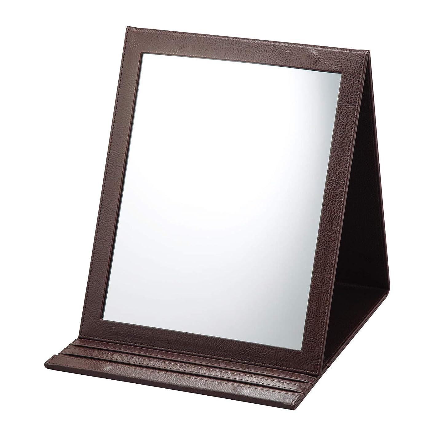 アプローチそのスラッシュ折立鏡デカミラー 角度調整5段階 卓上 A4サイズ メイク 化粧 おりたたみ