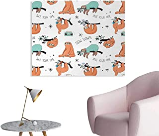 Tudouhoho Sloth Custom Poster Pattern with Cute Hand Drawn Sloths on Branches Laziness Mood Quotes Fun Wall Sticker Decals Orange Pale Blue Black W28 xL20