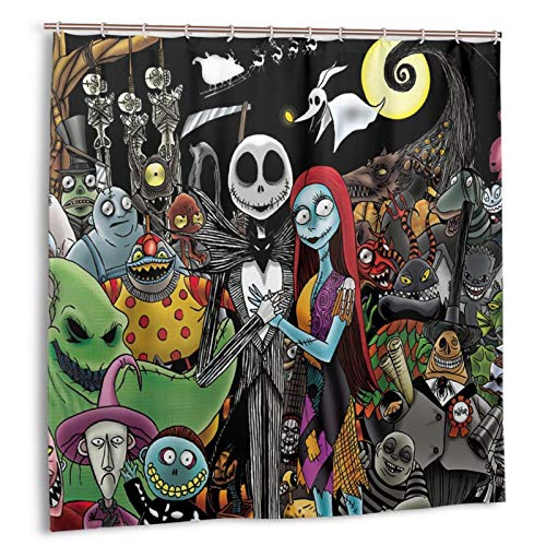Nightmare Before Christmas Shower Curtain 72 x 72 inches Jack Skellington Romantic Waterproof Bath Curtain Sets Bathroom Decor with Hooks