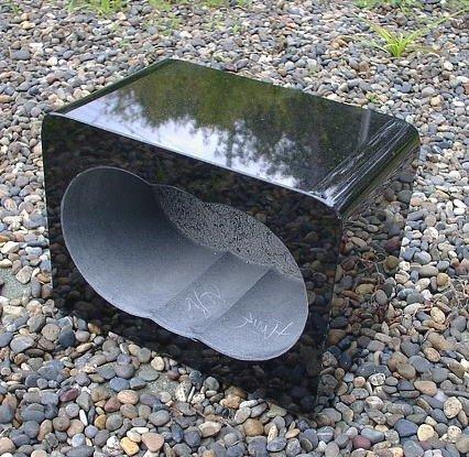 【お墓・香炉】 黒御影石角香炉(お墓用)