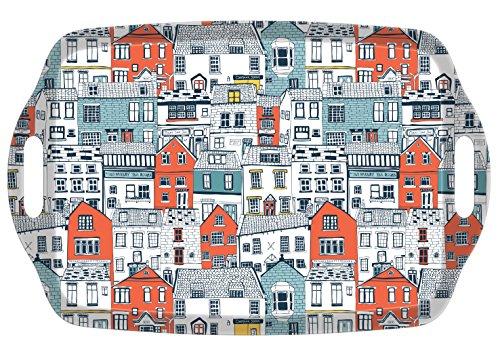 I Style Coastal Maisons à Plateau à thé avec poignée, Mélamine, Multicolore