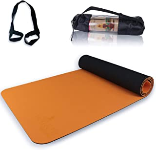 1 cm de grosor para pilates Relaxdays Esterilla de yoga unisex para adultos fitness color naranja con correa de transporte 60 x 180 cm