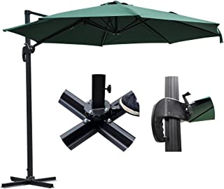 Yescom 10-Feet Heavy-Duty Cantilever Umbrella, 57lbs, Green, 360-Degree Rotation Offset Hanging Parasol