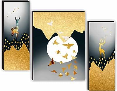 SAF SANFJM30981 Deer Geometrical Design Modern Art UV Textured Home Decorative Self Adhesive Painting (18 Inch X 12 Inch, Multicolor) - Set of 3