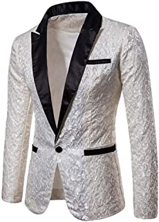 Men's Gold Floral Party Dress Suit Wedding Blazer Dinner Jacket Single Breasated Tuxedos