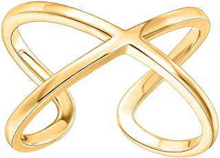 PAVOI 14K Gold Plated Crossover X Stackable Rings | Gold Rings for Women