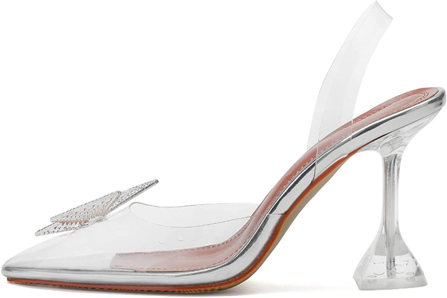 Woman Heeled Sandal Pointy Toe Clear Strappy High Heels Fashion Slide Shoes with Rhinestone Butterfly