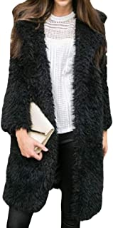 Womens Warm Lapel Comfy Casual Long Sleeve Open Front Loose Long Sweater Cardigans Tops