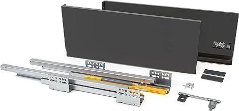 EMUCA Ladeset voor keuken of badkamer, met uittrekbare rails en softclose, hoogte 185 mm en diepte 350 mm, antracietgrijs