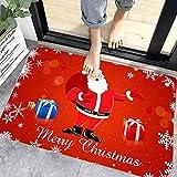 WELLXUNK® Navidad Antideslizante Felpudo, Alfombras de Decoración de Navidad Antideslizante y Absorbente, Alfombrillas Decorativas para el Salón el Baño la Cocina, Welcome Felpudo de Puerta (M1)