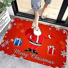 Navidad Antideslizante Felpudo, Alfombras de Decoración de Navidad Antideslizante y Absorbente, Alfombrillas Decorativas para el Salón el Baño la Cocina, Welcome Felpudo de Puerta (M7)