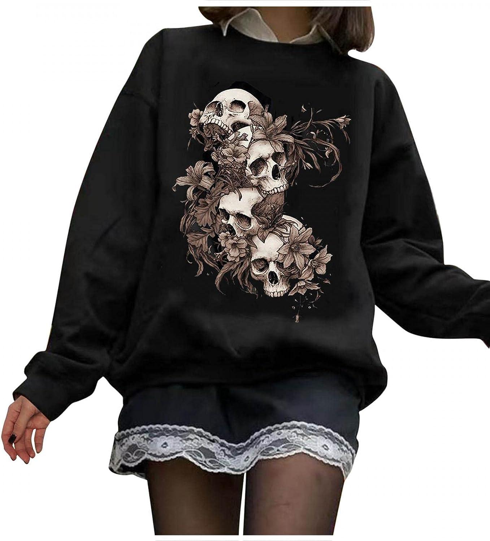 MASZONE Womens Y2K Crewneck Sweatshirts Halloween Skeleton Ghost Print Long Sleeve Pullover Sweatshirt Casual Tee Tops