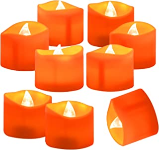 Homemory 24 Pack Battery Operated LED Tea Lights, Orange Flameless Votive Tealights with Warm White Flickering Lights, Small Electric Fake Tea Candles Realistic for Halloween, Pumpkin Lanterns
