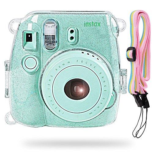 Katia Kamera Hard Tasche für Fujifilm Instax Mini 9 Instant Kamera, auch für Fujifilm Instax Mini 8 Sofortbildkamera mit Strap (Transparent)