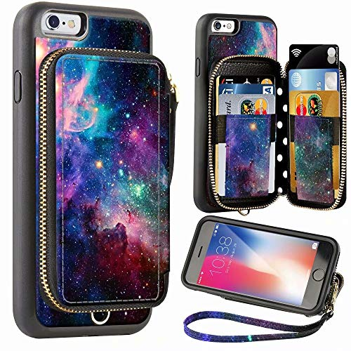 ZVE Wallet Case for Apple iPhone 6 Plus and iPhone 6s Plus, 5.5 inch, Zipper Wallet Case with Credit Card Holder Slot Handbag Purse Print Cover for Apple iPhone 6 / 6s Plus 5.5 inch - Starry Sky