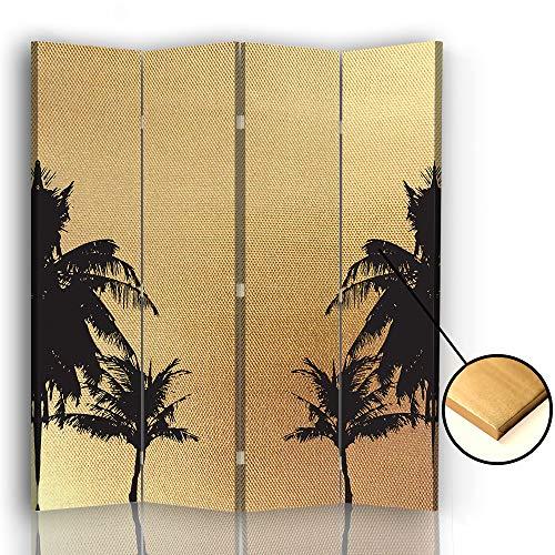 F FEEBY WALL DECOR Trennwand Paravent Palmen 360 Grad drehbarer 4 TLG beidseitig Gold 145x175 cm
