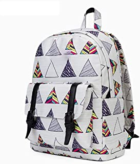 Cute Canvas Backpack for Girls School Bag Travel Daypack (Color : White)