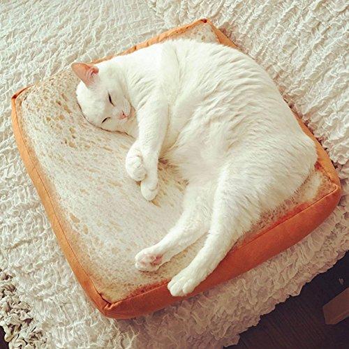 Unbekannt WFZ17 Katzen-Matratze, süßer weicher Toast-Scheibe, Brot-Form, Plüschschwämme, Füllmaterial für Katzen und Hunde