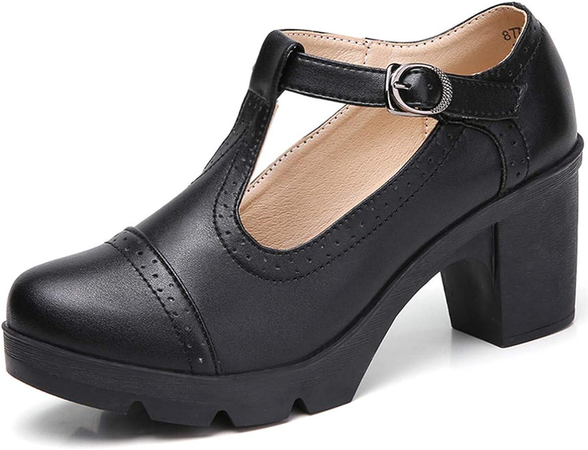 Selling rankings DADAWEN 5 ☆ very popular Women's Classic T-Strap Platform Square Oxf Toe Mid-Heel