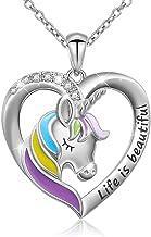 KBHSTU Unicorn Necklace For Girls Sterling Silver Unicorn Heart Pendant Necklace Lover Birthday Birthday Necklace