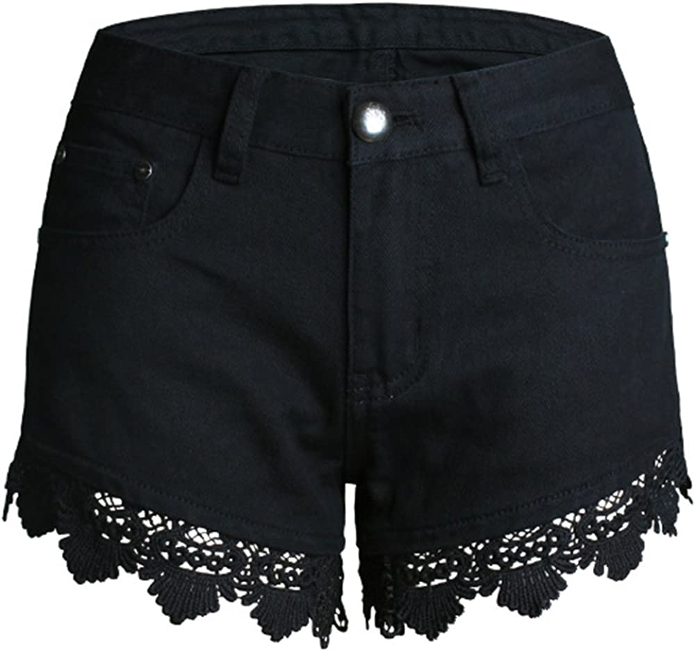 Allonly Women's Black Sexy Relaxed Fit Denim Shorts with Lace Trim Jean Shorts Hot Pants