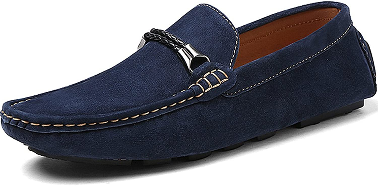 Rismart Men's Stylish Suede Leather Driving shoes Business Loafers Navy 8028 US7