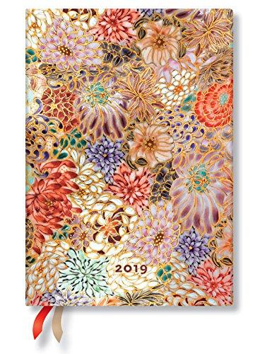 Paperblanks Terminplaner 2019 mit Lesebändchen & Innentasche, Kikka, Woche für Woche horizontal, Midi, 180 x 130 mm