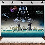 Star Wars Science Fiction Photography Backdrop Vinyl Black Star Galaxy Photo Background Baby Shower Studio Props Supplies Boys Birthday Party Decorations Banner 5x3ft